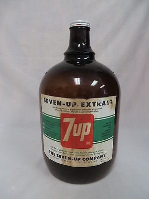 1960's 7Up Extract Amber 1 Gal Soda Fountain Syrup Jug Bottle W/lid St Louis Mo