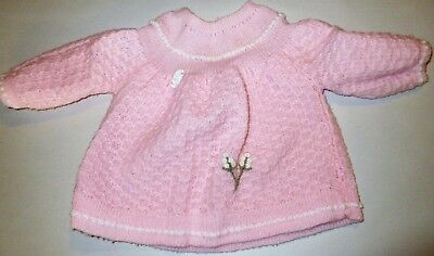 """Vintage 1970s Debs N Beaux Baby Girls Pink Knitted Dress ? 0-3m Pit to pit 10"""""""