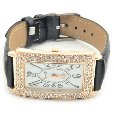 Rectangle Dial Luxury Crystal Leather Band Women Girl Quartz Wrist Watches