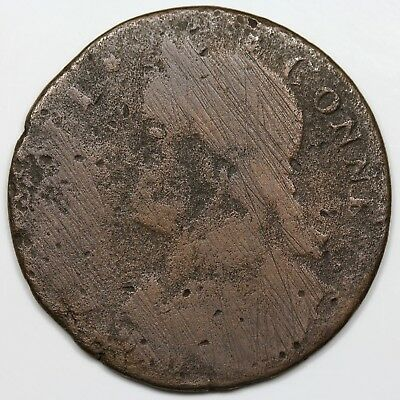 1788 Connecticut Copper, Draped Bust Left, reverse cud, VG detail