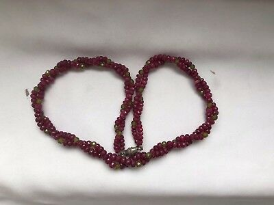 Vintage Ruby Bead And Peridot Bead Necklace