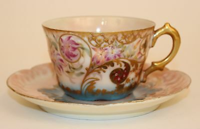 Beautiful Limoges Mustache Cup And Saucer