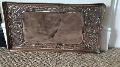 Lovely Arts and Crafts Heavy Copper Tray  Repousse Design Floral Dandelions