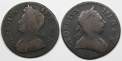 Pair of Great Britain Halfpennies, 1737 & 1773, VG-F