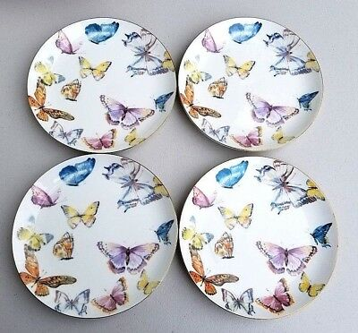 Williams Sonoma Floral Meadow Butterfly Salad Plates Butterflies S//4 Easter NEW