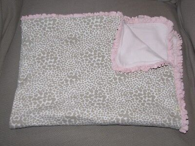 Carters baby blanket pink brown animal leopard heart print striped ruffle 33 X23