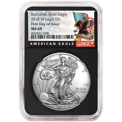 2018-W Burnished $1 American Silver Eagle NGC MS69 FDI Black Label Retro Core