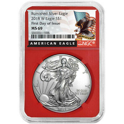 2018-W Burnished $1 American Silver Eagle NGC MS69 FDI Black Label Red Core