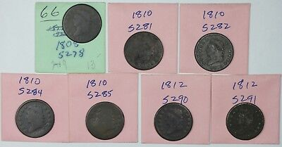 Lot of 7 different Classic Head Large Cent die varieties, 1808-1812, lower grade