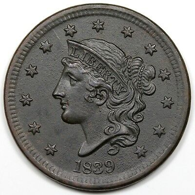 1839 Coronet Head Large Cent, Silly Head, AU detail