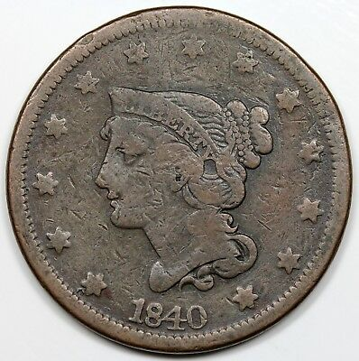 1840 Braided Hair Large Cent, Large Date, VG detail