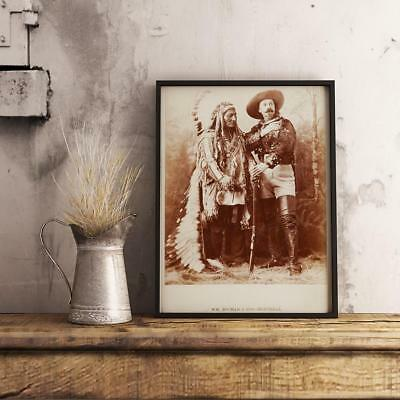 Sitting Bull and Buffalo Bill 1881 Cody's Wild West Glossy Photo Vintage Gunfigh