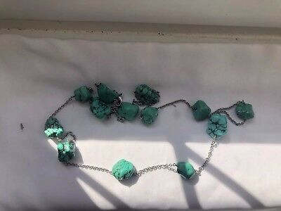 Antique Chinese Matrix Turquoise Long Flapper Sterling Silver Necklace
