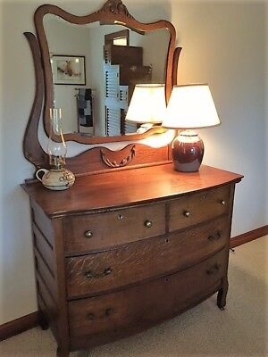 Antique Oak Dresser with Beveled Mirror