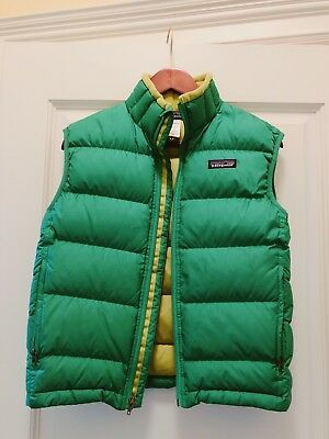 Kids PATAGONIA Down Vest Green Quilted Puffer Size 10 Unisex M