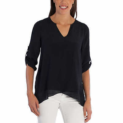 Fever Ladies' Roll Tab Blouse, Black, Size S
