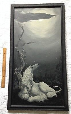 Vintage Afghan Hound Dog By The Light Of The Silvery Moon Oil Painting!