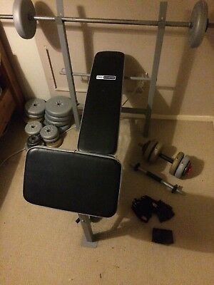 Weight bench with bars & 30+ weights