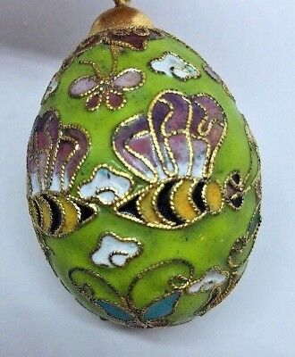 Light Green Cloisonne Champleve Bumble Bee & Butterfly Egg Ornament
