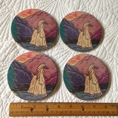 A Set Of Four Colorfully Painted Stone Afghan Hound Dog Coasters!