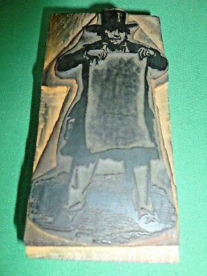 Antique Gentleman Holding Sign Wood Antique Woodcut Print Printing Block