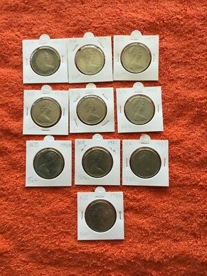 New Zealand Silver Coins 10  X 50 Cents ,