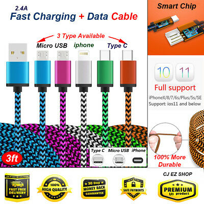 Nylon Braided  USB Type C Cable adapter 3FT Android Fast Charging cable LOT