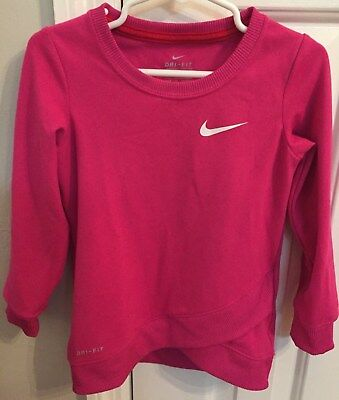 Toddler Girls Nike Dry Fit 3TLong Sleeve Magenta Shirt with White Check