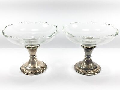 Frank M. Whiting Sterling Silver & Glass Pair of Compote Candy Dish Candlesticks