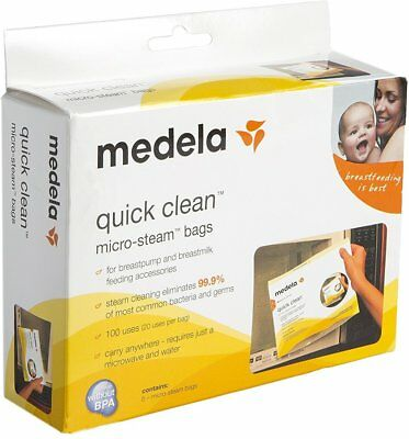 Quick Clean Micro-Steam Bags, Medela, box of 5 bags