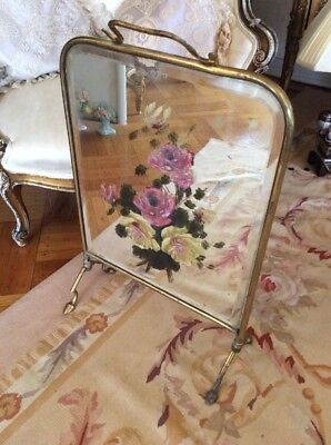 SHABBY Antique VTG Mirror Fire Screen Hand Painted Barbola Cabbage Roses