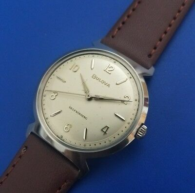 1962 Vintage Mans Bulova Self Winding, Silver Dial, Fully Serviced