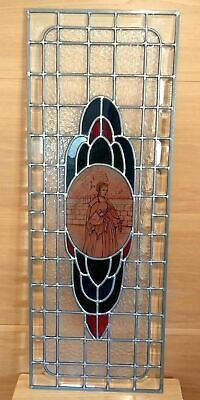 Old English Leaded Stained Glass Window 15 X 48 Bevelled Glass