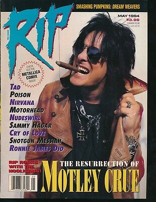 MOTLEY CRUE/NIKKI SIXX Cover of May 1994 RIP Heavy Metal Magazine VERY FINE