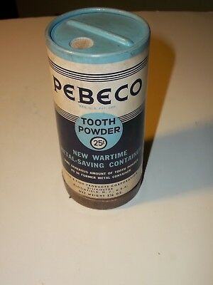 WWII 1944 PEBECO TOOTH POWDER Wartime Cardboard PACKAGE Drug Store NO Metal FULL