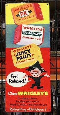 Wrigley's Chewing Gum Pk Juicy Fruit Feel Relaxed Old Advertising Sign