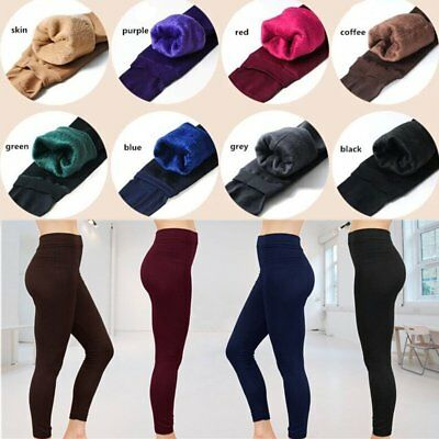 Women's Solid Winter Thick Warm Fleece Lined Thermal Stretchy Leggings Pants AU
