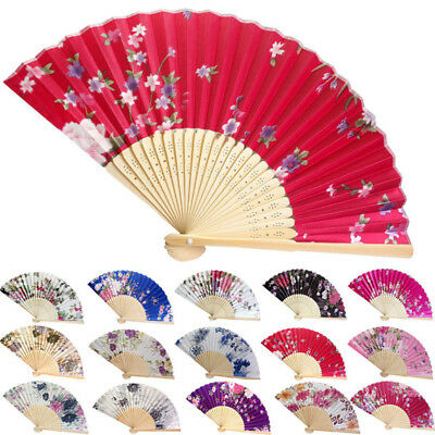 Chinese Flower Red Silk Bamboo Folding Hand Held Fan Elegant Lady Wedding Dance