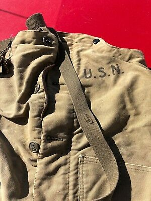 REAL VTG 1940S WWII US Navy USN Deck PANTS Overalls USN SIZE Small
