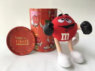 """""""Today is Red"""" Tin Canister with RED M&M 2002 Plush Toy BOXER - Rare!!!"""