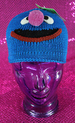 Sesame Street Knitwits Kids Beanie Grover Blue One Size Fits 3-6 years New w Tag
