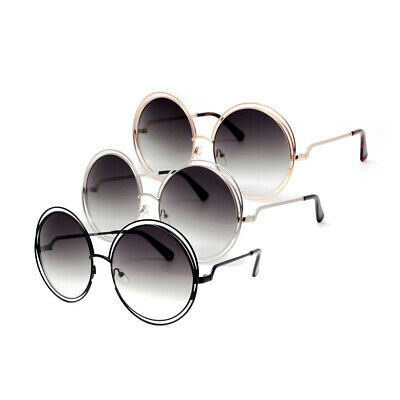 2 Pairs Combo Oversized Glamour Round Double Wire Ring Metal Frame Sunglasses