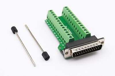 D-SUB DB25-G Male 25Pin Plug Breakout To PCB Board Terminal Connector With Pole