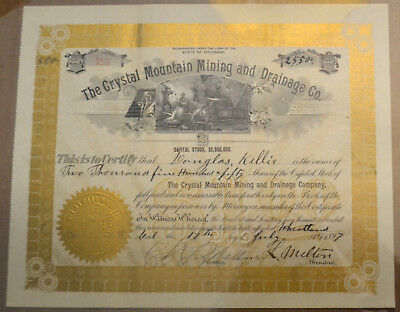 The Crystal Mountain Mining and Drainage Co. 1897 antique stock certificate