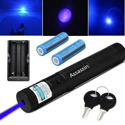 50Miles Blue Purple Laser Pointer 405nm Lazer Pen Beam+2x18650 Batt+Dual Charger