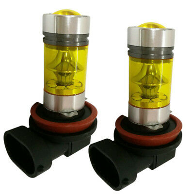 2x H8 H9 H11 H16 4000K Bulb Yellow Green 100W Power CREE LED Fog Light Bulb NEW
