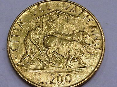 Vatican 1982 Pope John Paul II 200 Lire Farmer plow plough land with ox and cow