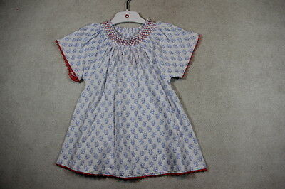 Baby Girl Size 0,1,2 Plum Summer White Dress With Blue Floral Print NWT