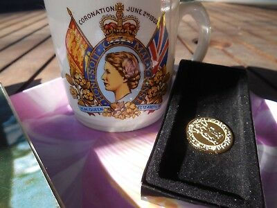 Royal Items - Gilded  Gold Sovereign Coin 1489-1989, Coronation Cup 1953 Etc.
