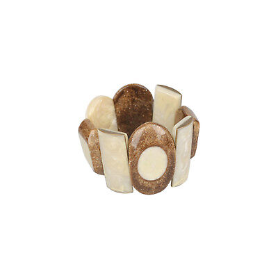 Authentic PELLINI MILANO Beige & Shimmering Brown Resin Bracelet